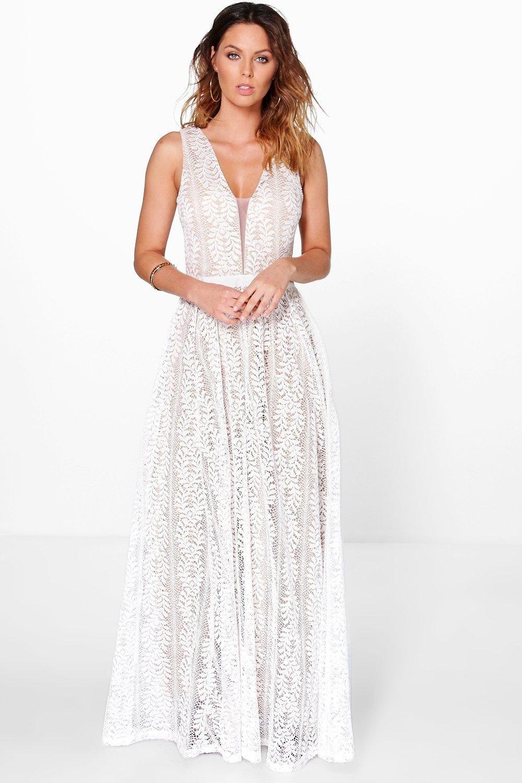 Boutique Lace Plunge Maxi Bridesmaid Dress Boohoo Uk In 2020 Plunge Neck Maxi Dress White Maxi Dresses Maxi Bridesmaid Dresses