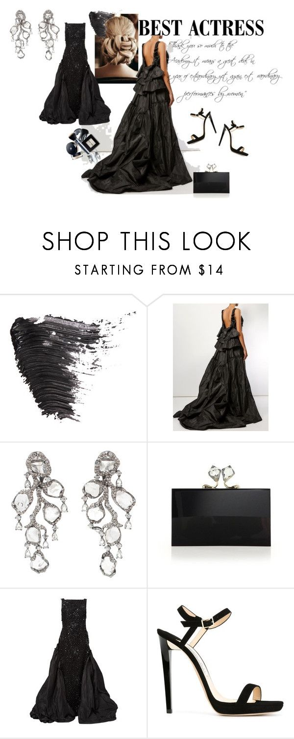 """""""Best in Black"""" by caitlin-maloney-stayt ❤ liked on Polyvore featuring Topshop, Oscar de la Renta, Saqqara, Charlotte Olympia and Jimmy Choo"""
