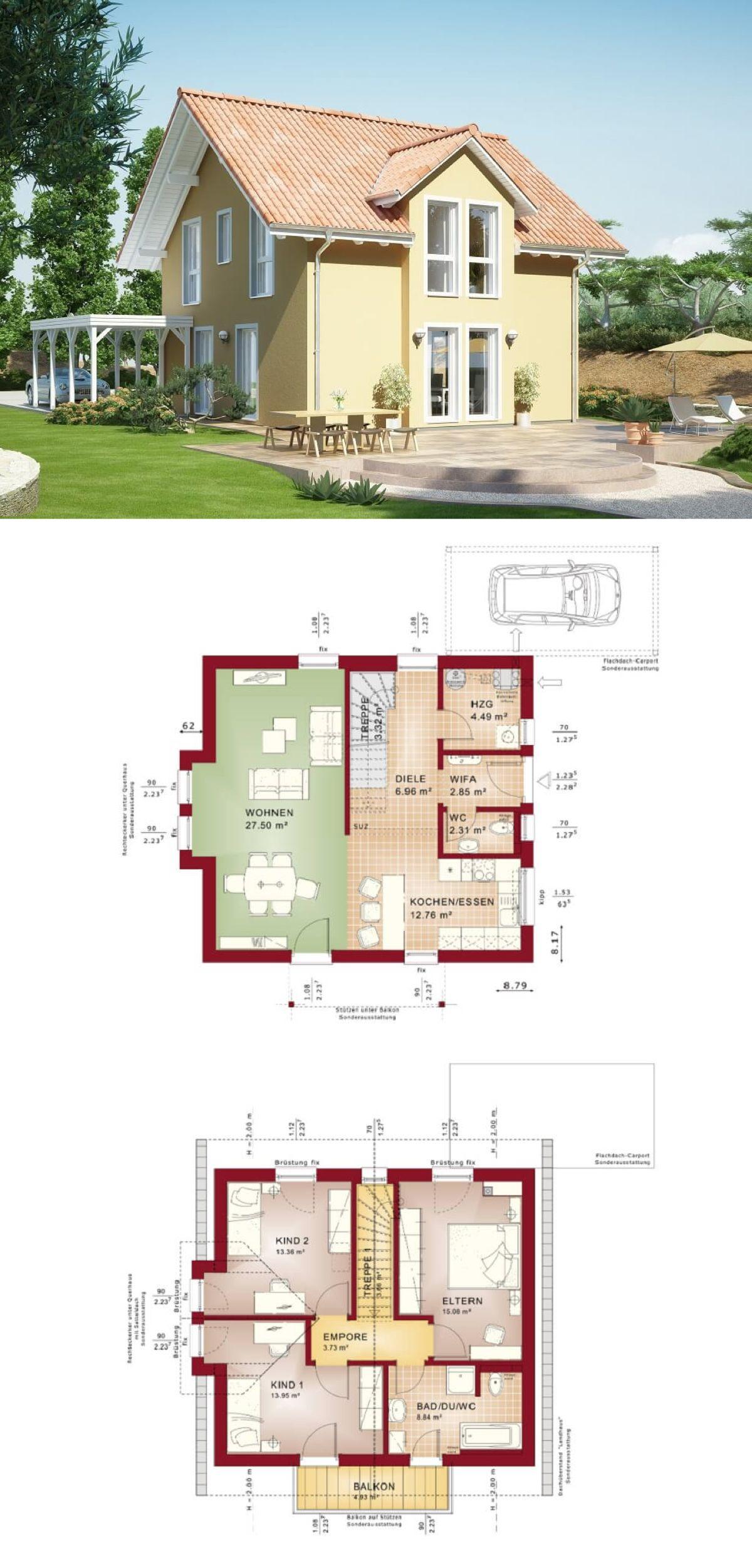 Einfamilienhaus Evolution 116 V4 Bien Zenker   Haus Grundriss Modern Offene  Küche Carport Satteldach   HausbauDirekt