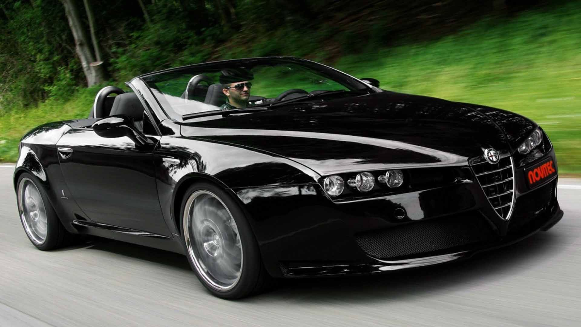 Alfa Romeo Spider in black on hd wallpapers http//www