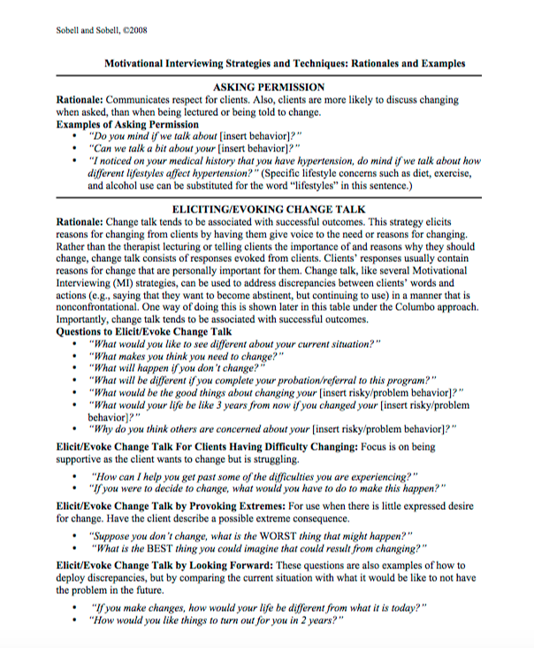 Motivational Interviewing ScriptsTool Therapy Tools – Motivational Interviewing Worksheets