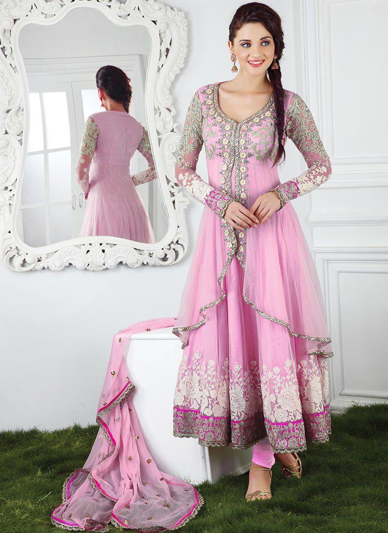 Splendiferous Pink Net Anarkali Suit | MONA | Pinterest