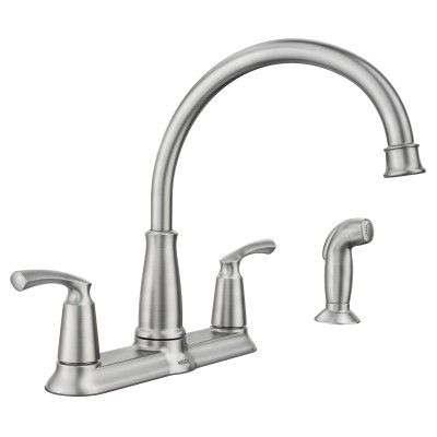 Bexley Spot Resist Stainless Two Handle High Arc Kitchen Faucet