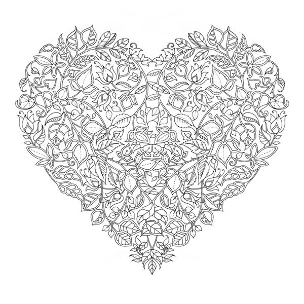 Free Johanna Basford Valentines Day Colouring Page