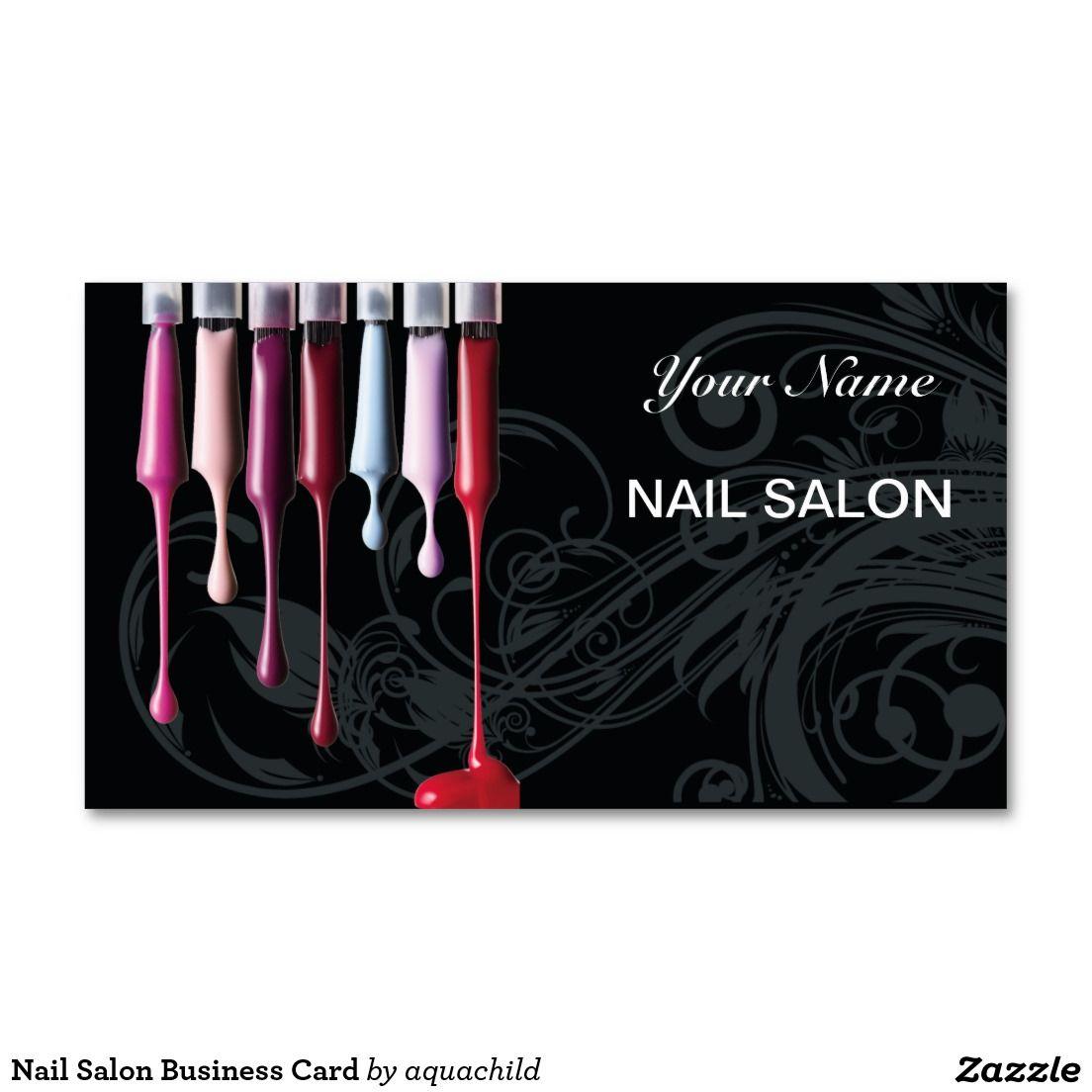 Nail Salon Business Card Zazzle Com Salon Business Cards Nail Salon Business Cards Nail Salon Decor