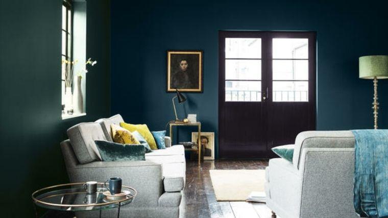 Salon bleu pétrole, bleu canard et bleu paon... | Halle and Salons