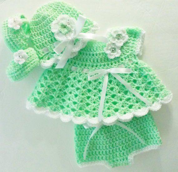 30f938a66 Crochet+Green+Newborn+Dress+Set++Baby+Dress