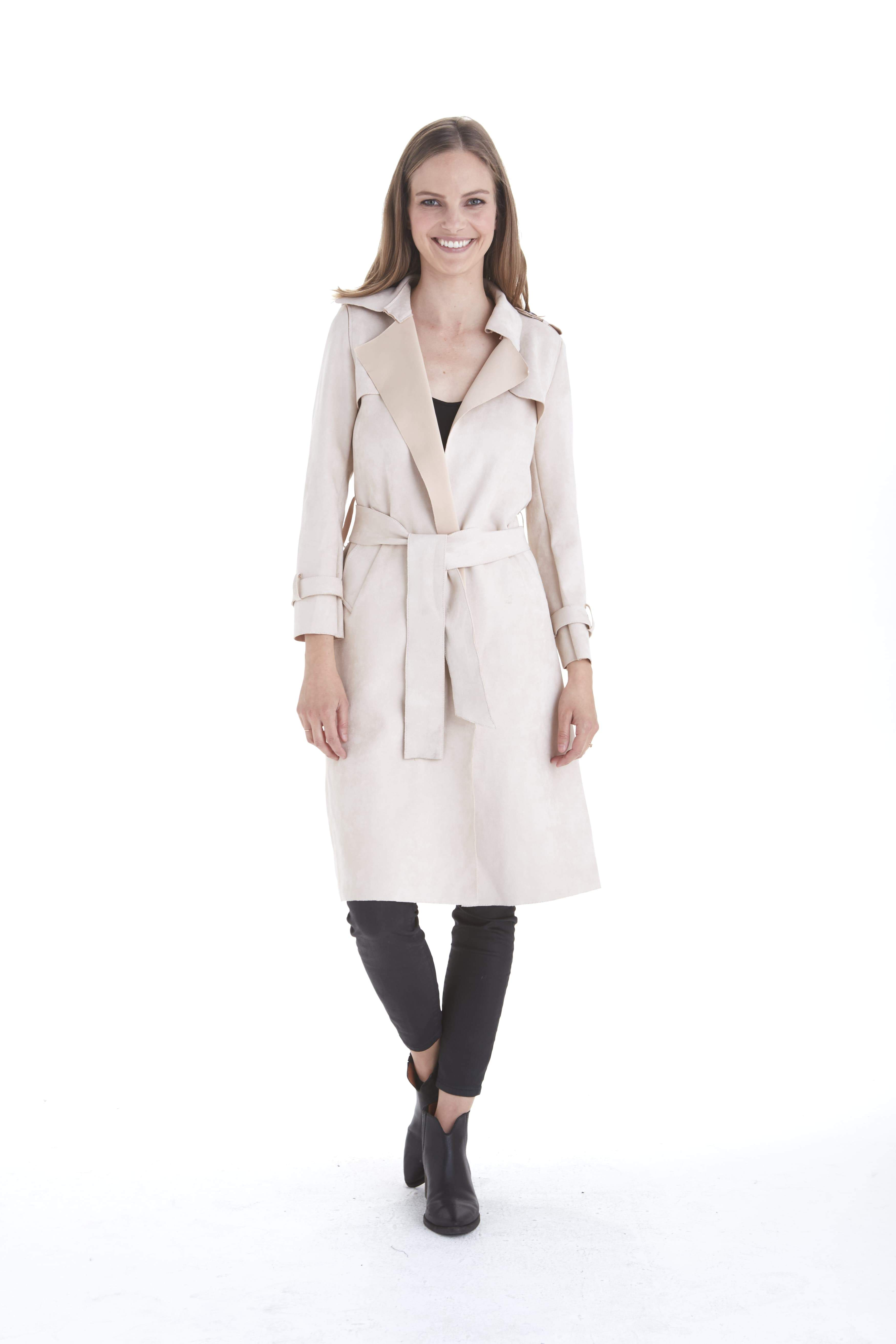 11f4d0699 Adrianna Faux Suede Trench Coat | Products | Suede trench coat, Coat ...