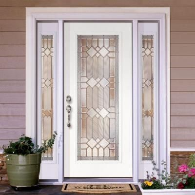 Feather River Doors Mission Pointe Zinc Full Lite Prime Smooth Fiberglass Entry Door With Sidelites 682191 3b4 A Fiberglass Entry Doors Door Glass Design Doors