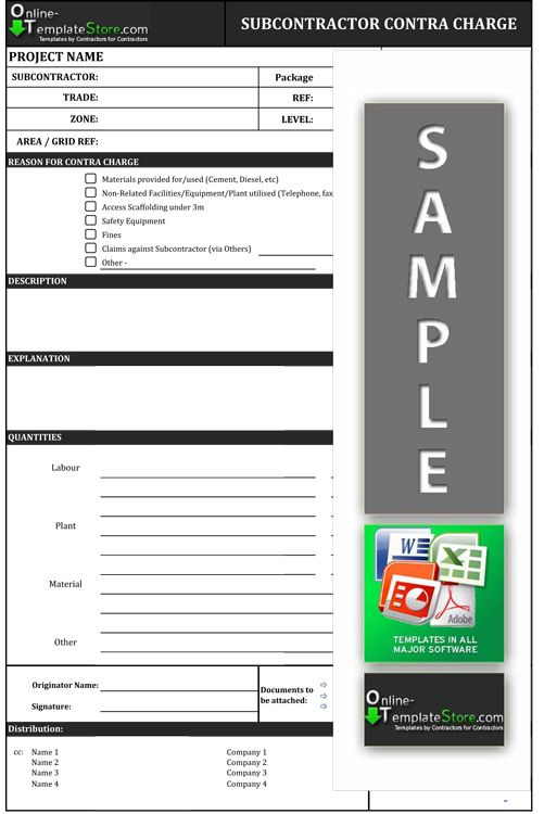 Contra Charge form Cost Control Templates Pinterest Template - subcontractor contract template