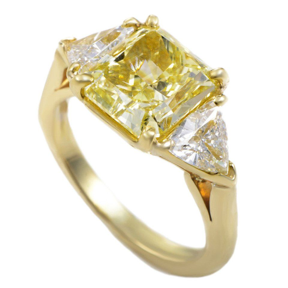 Tiffany Co Yellow Diamond Yellow Gold ThreeStone Engagement Ring