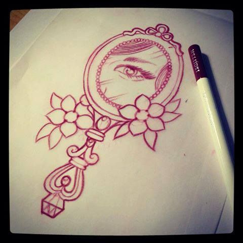 hand mirror with eye tattoo design drawing by mr curtis at tattoo flash. Black Bedroom Furniture Sets. Home Design Ideas