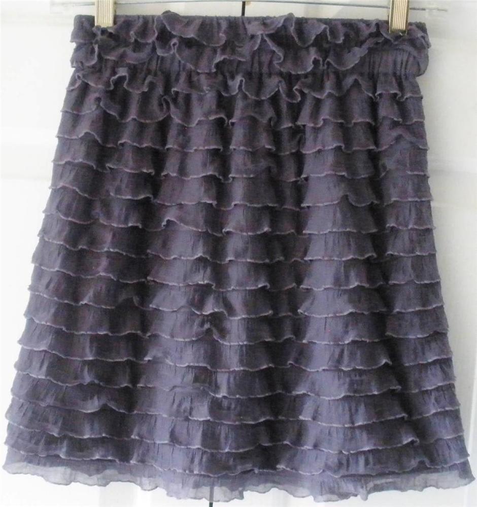 Xhilaration Womens Juniors Purple Lavender Tiered Ruffle Stretch Mini Skirt XS  | eBay