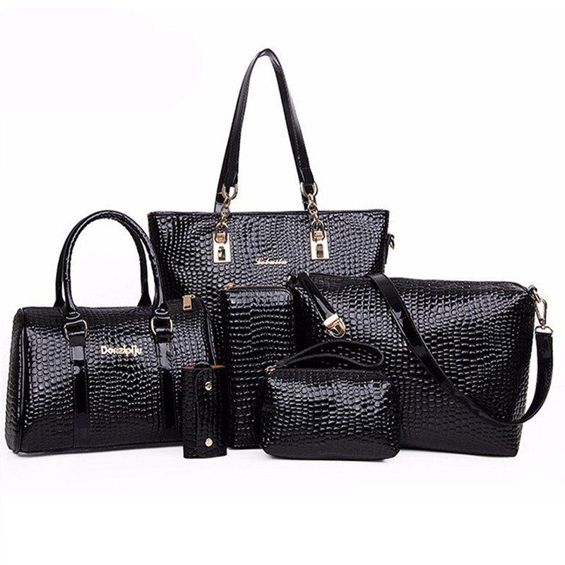 81f69a4fe8b8 6 Bags Crocodile Pattern Women Bag Stone Women Handbag Pu Leather Shoulder