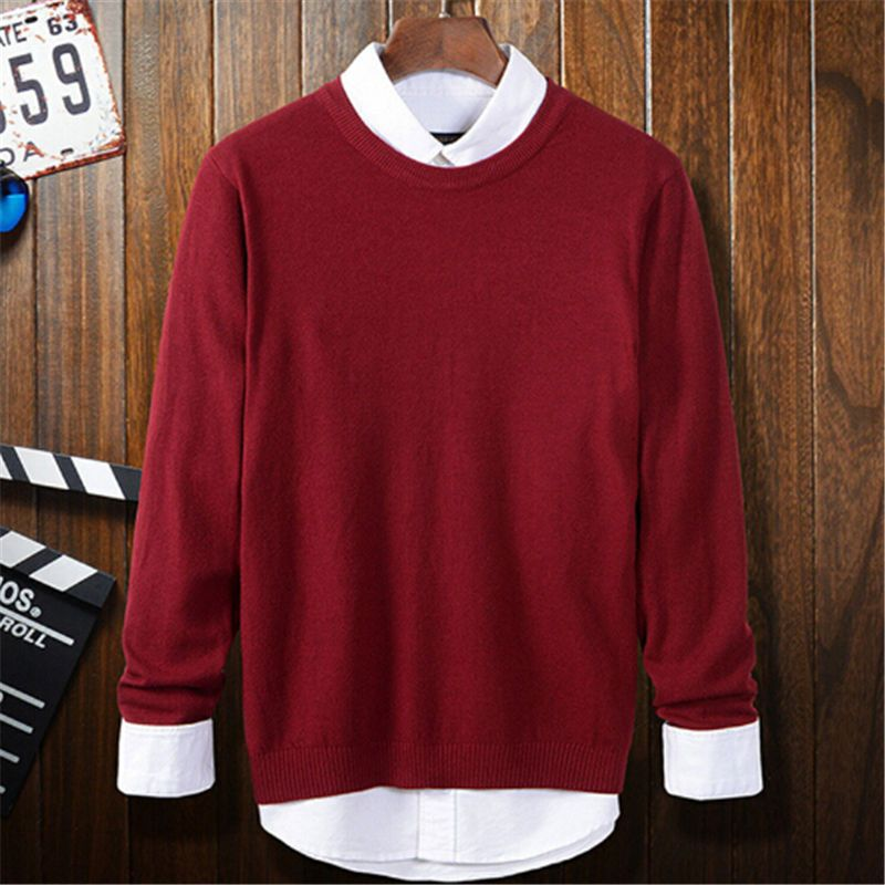Red Sweaters Men 2017 Autumn New Fashion O-neck Knitted Pullovers ...