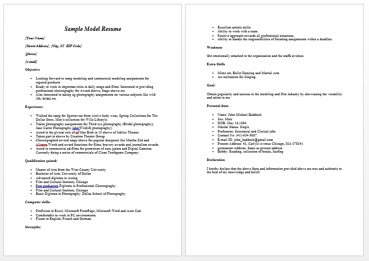 Genial Modeling Resume Sample Free We Provide As Reference To Make Correct And  Good Quality Resume.
