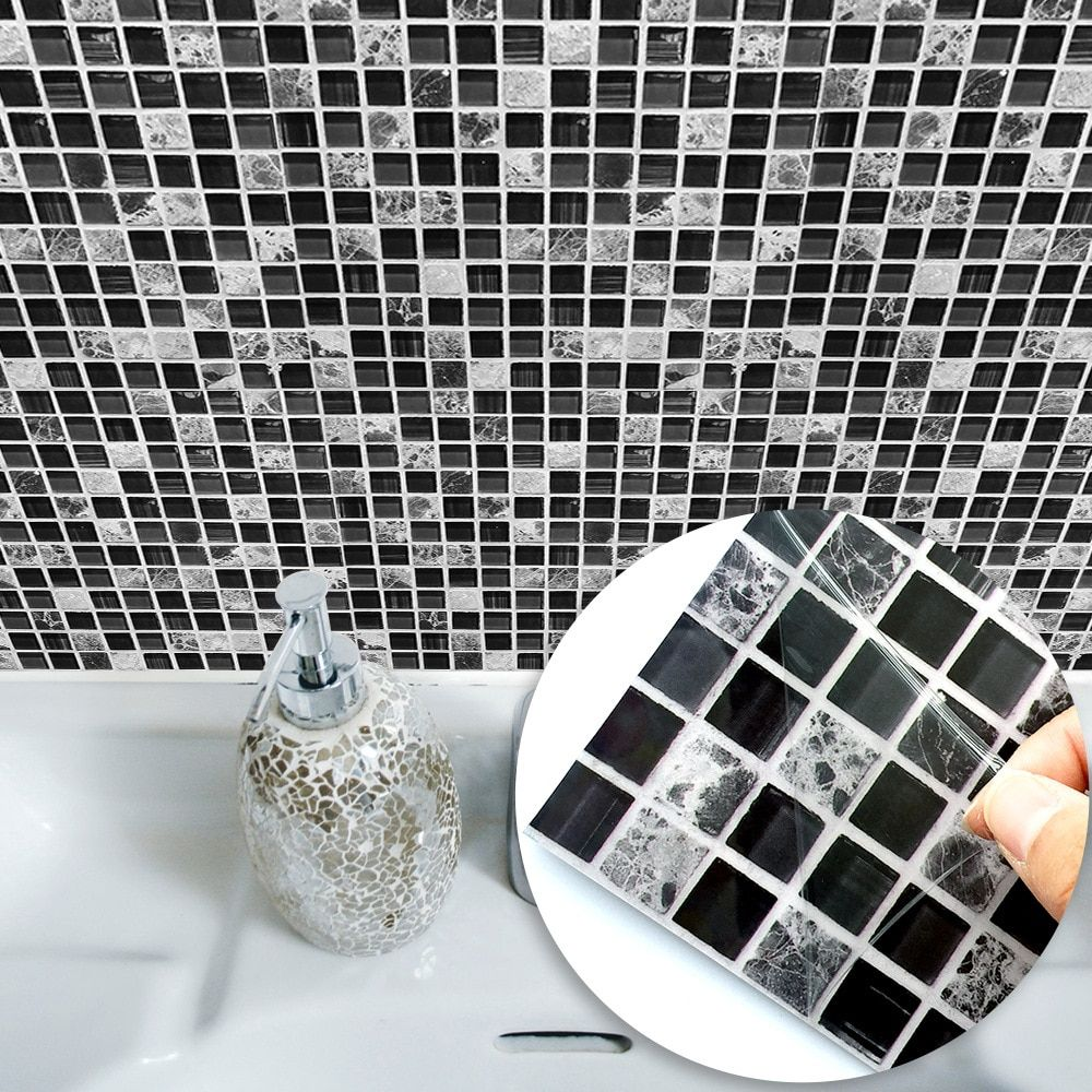 Self Adhesive White And Black Mosaic Tile Sticker For Kitchen And Bathroom In 2020 Mosaic Tile Stickers Tile Stickers Kitchen Mosaic Wall Tiles