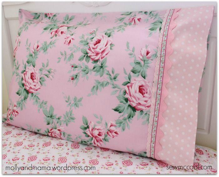 DIY So Simple Shabby Pillowcases with Lace Trim - Eyelet trim ric-rac polka dot header.