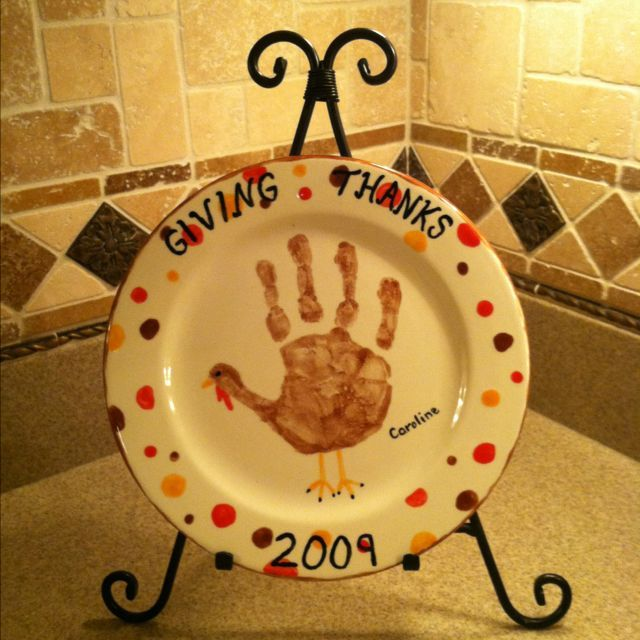 DIY Giving Thanks Plate With Handprint Great Gift Idea Use Cheap Dollar Tree