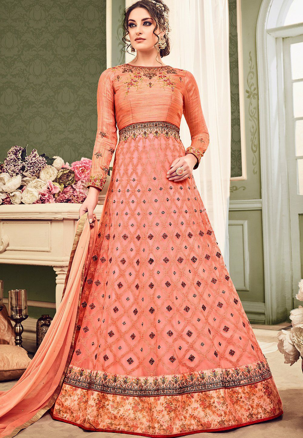 Buy Peach color net wedding anarkali suit in UK, USA and