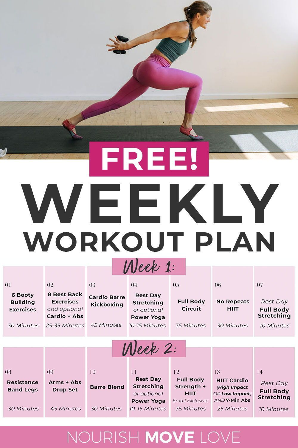Free 14 Day Full Body Workout Plan For Women Nourish Move Love Full Body Workout Plan Workout Plan Workout