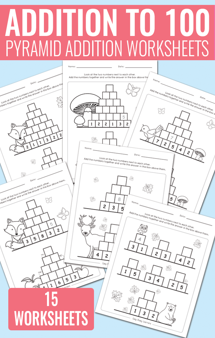 Pyramid Addition up to 100 Worksheets for Kindergarten, Grade 1 ...