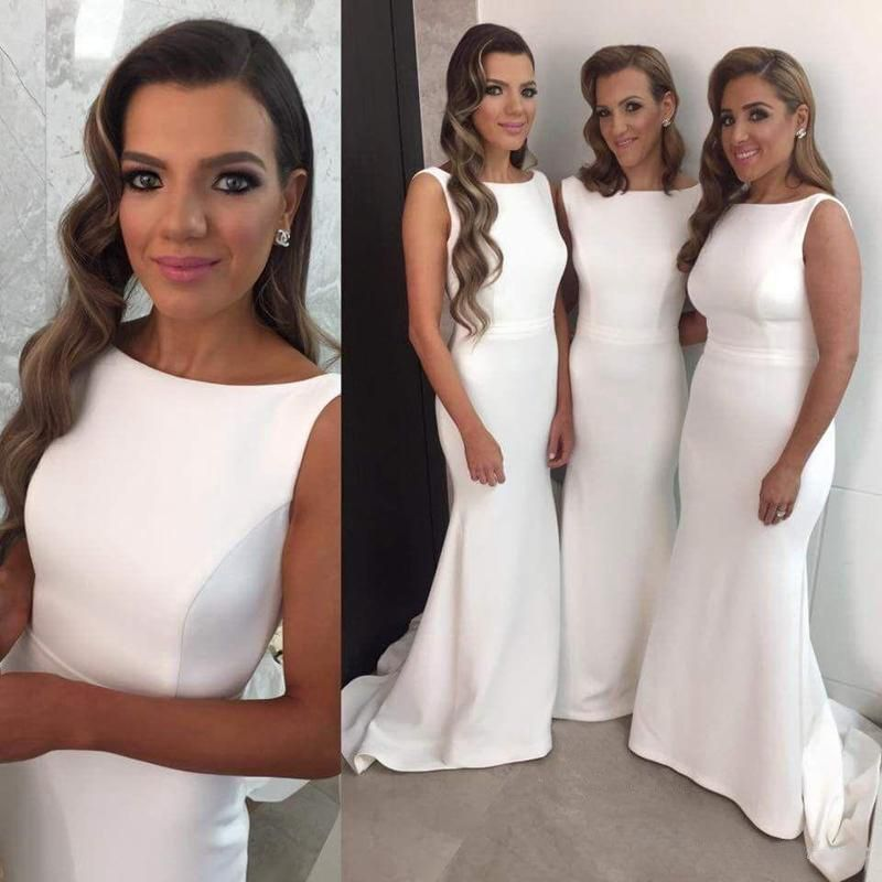 White Bridesmaid Dress Gown Gowns Mermaid Dresses