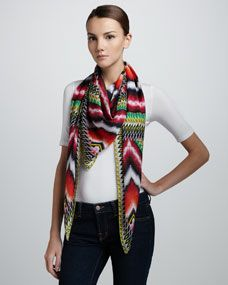 Damask Geometric Silk Scarf