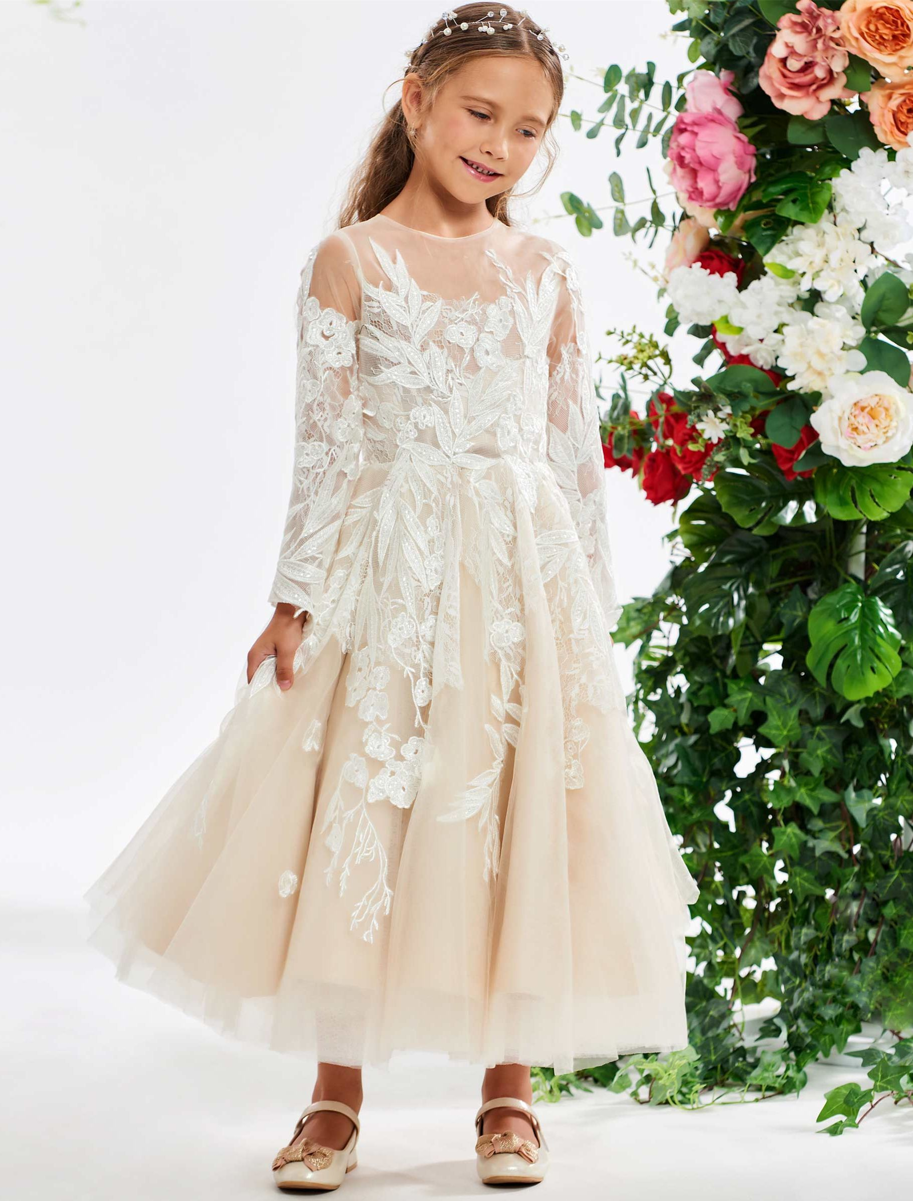 71992c711cc Lace Appliques Long Sleeve Flower Girl Dress | Wedding Dresses from ...