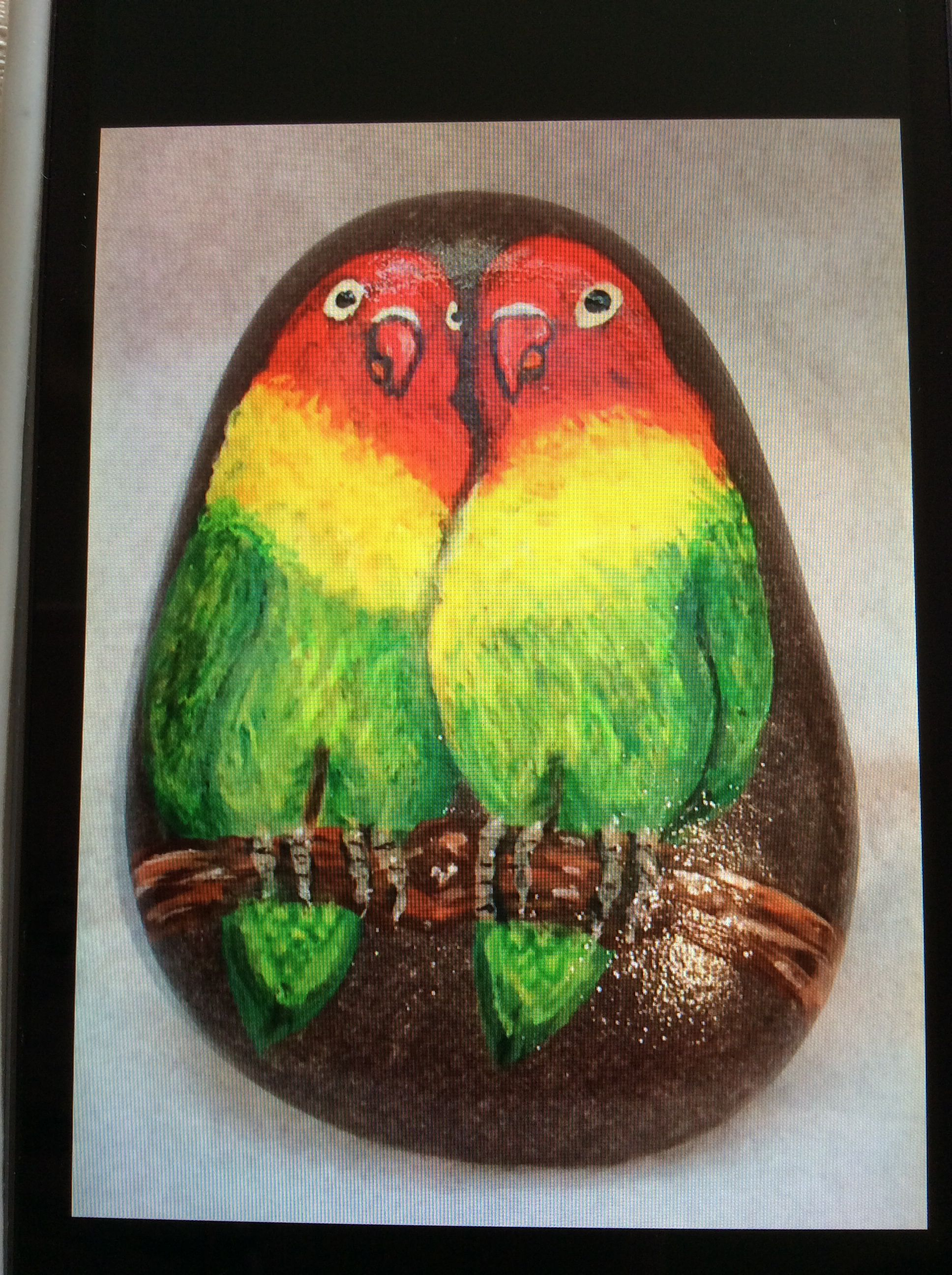 Lovebirds By Hev Schilderij