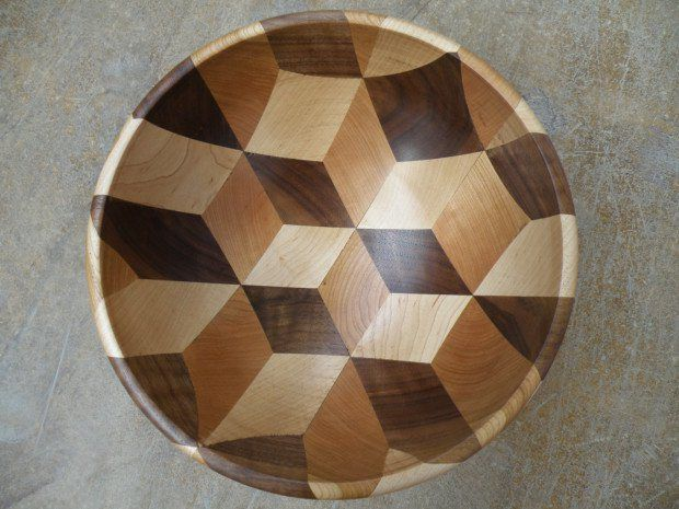 See It Made 3d Cube Illusion Wooden Bowl Make Wooden Bowls Wood Turned Bowls Reclaimed Wood Wall Art