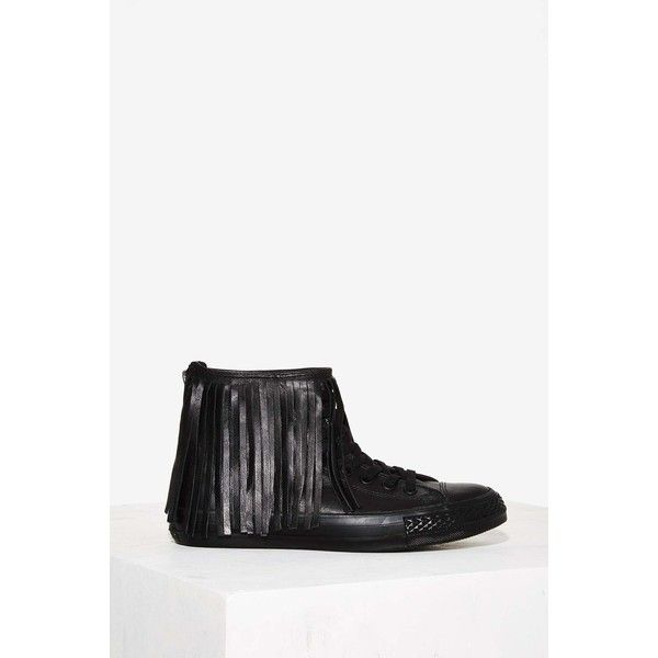 Converse All Star Fringe High-Top Leather Sneaker (135 AUD) ❤ liked on Polyvore featuring shoes, sneakers, black, black sneakers, black leather high tops, converse sneakers, leather high top sneakers and black platform shoes