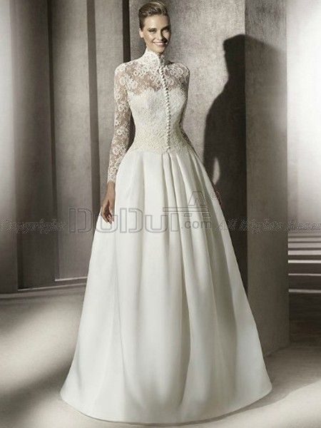 Interesting Decoration High Neck Long Sleeve Wedding Dress Cheap
