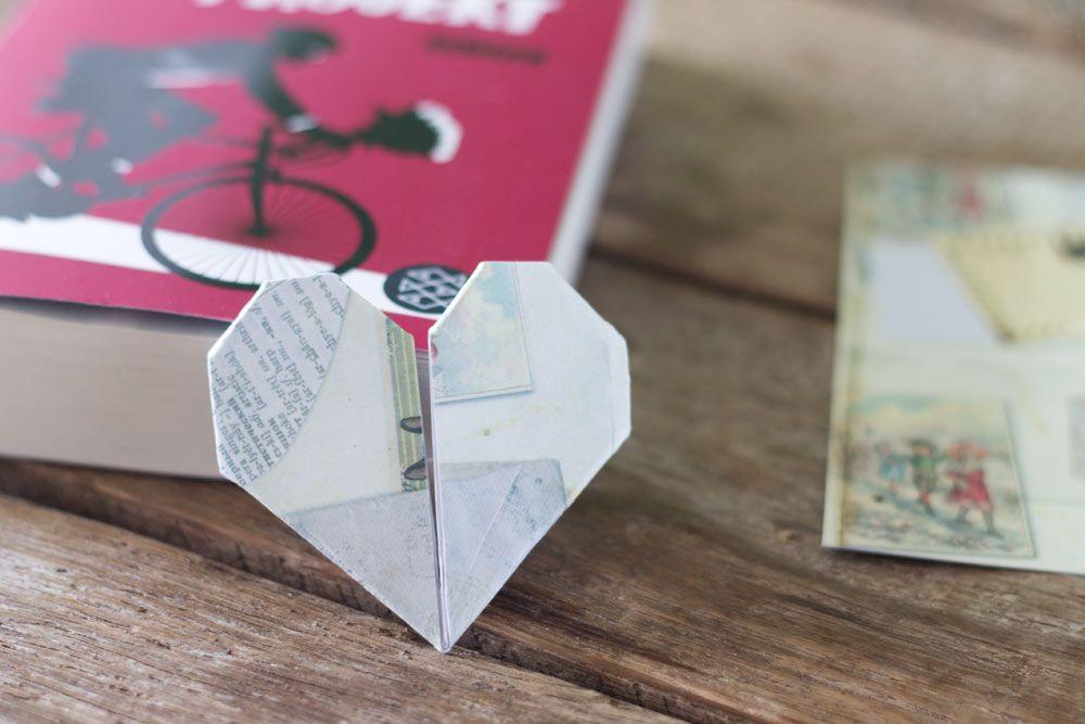 diy herzlesezeichen kleine geschenkidee falten mit kindern tiere blumen pinterest b cher. Black Bedroom Furniture Sets. Home Design Ideas