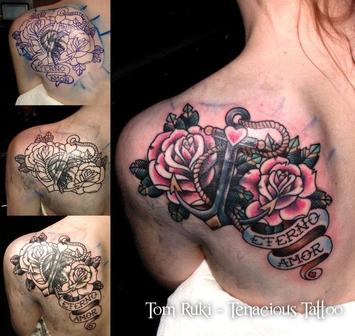 Tom Ruki - Tenacious Tattoo, Cover up on a lady's shoulder ...