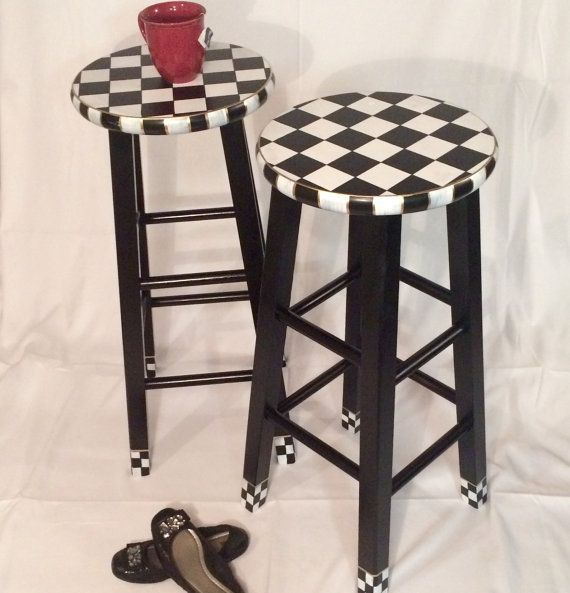 Whimsical Painted Furniture 29 Painted Round Top Bar Etsy Whimsical Painted Furniture Painted Stools Painted Bar Stools