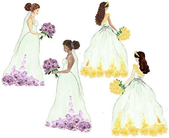 Wedding Clipart Bride Bridal Shower Invitation Diy Watercolor Clip Art D