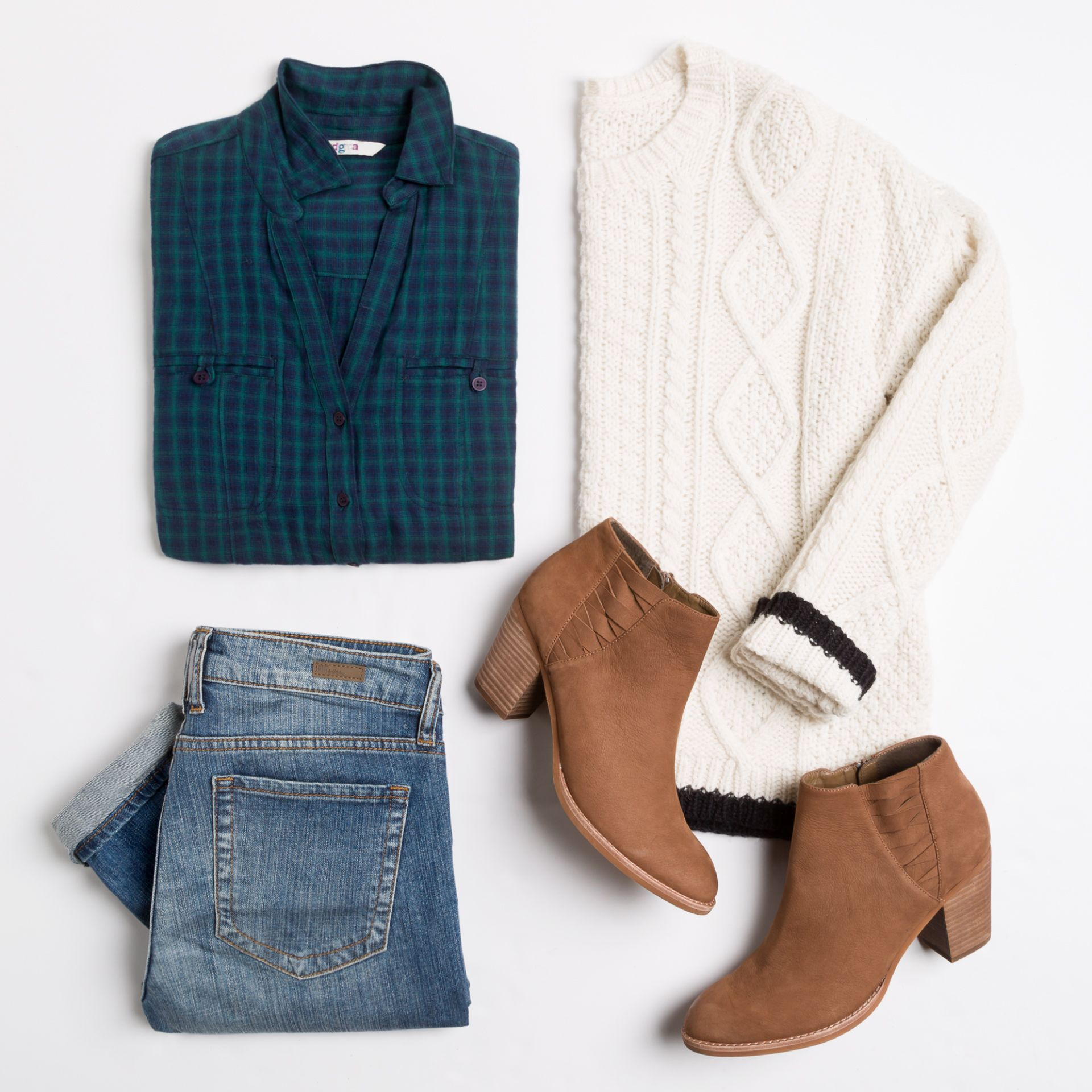 Pop goes the plaid pair a printed top under a sweater for for Plaid shirt under sweater