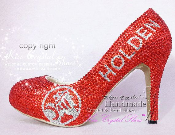 Custom made closed toe HOLDEN letters sexy hot by KissCrystalShoes Pearl  Shoes 327f9a818dee