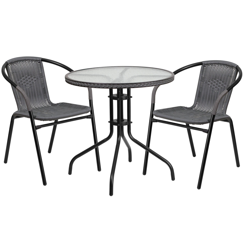 Zata Grey Rattan 3 Piece Indoor Outdoor Round Bistro Dining Set 1 Table 2 Chairs Black Patio Furniture