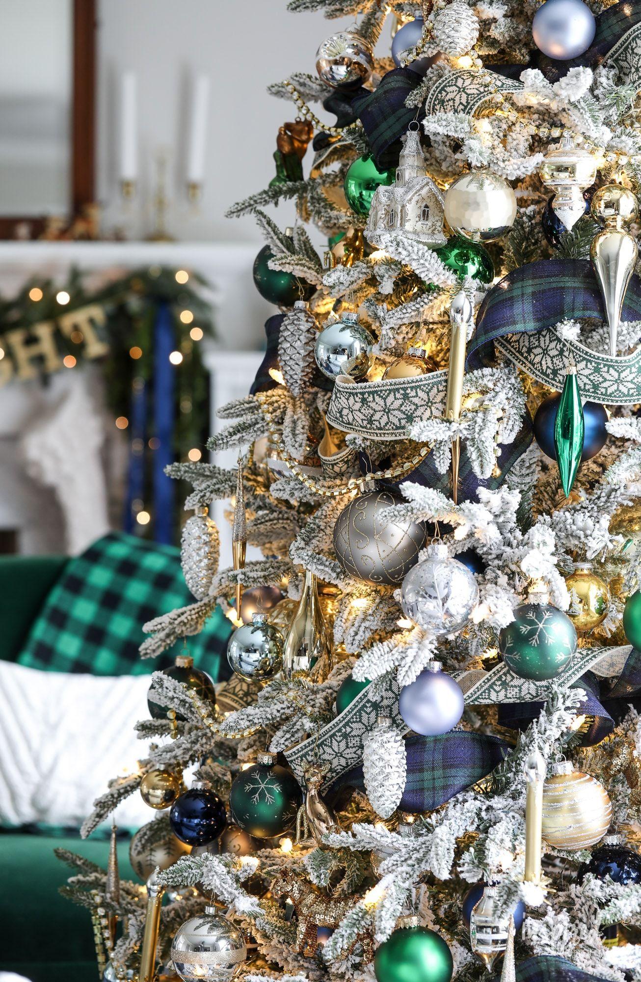 Navy And Green Christmas Tree Christmas Tree Inspiration Blue Christmas Tree Green Christmas Tree