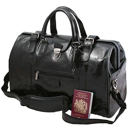 5ec6f12939aa8 Black Leather Large Gladstone Bag
