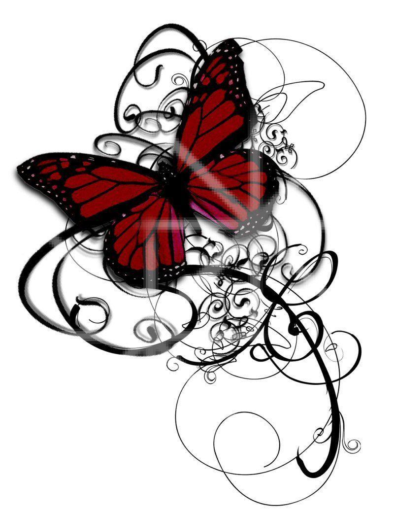 Photo of Temporäres Tattoo Gothic Tattoo Schmetterling Tattoo wirbelt tief rot und schwarz elega …