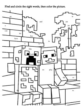Minecraft Sight Word Search in 2020   Minecraft coloring ...