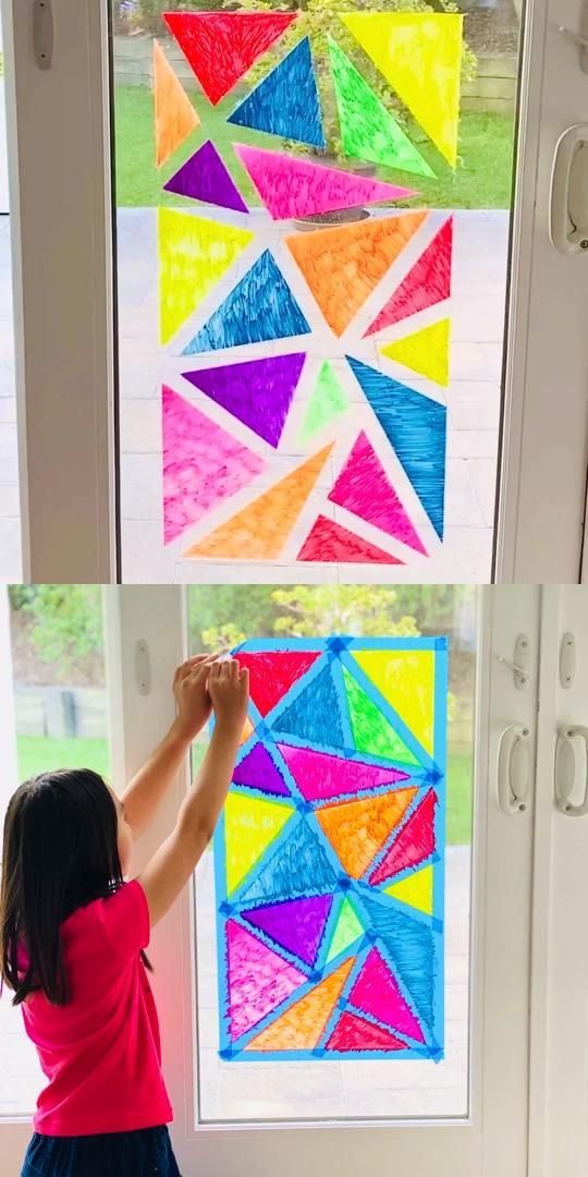 Photo of Window Chalk Mosaic Art