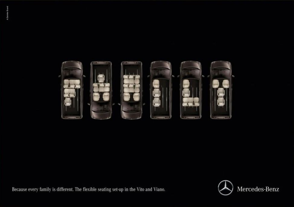 The World's Best Print Ads, 2011-12 | All the Gold Press Winners from Cannes | Adweek.  Mercedes vans come with flexible seating arrangements—you can move the seats into almost any configuration.