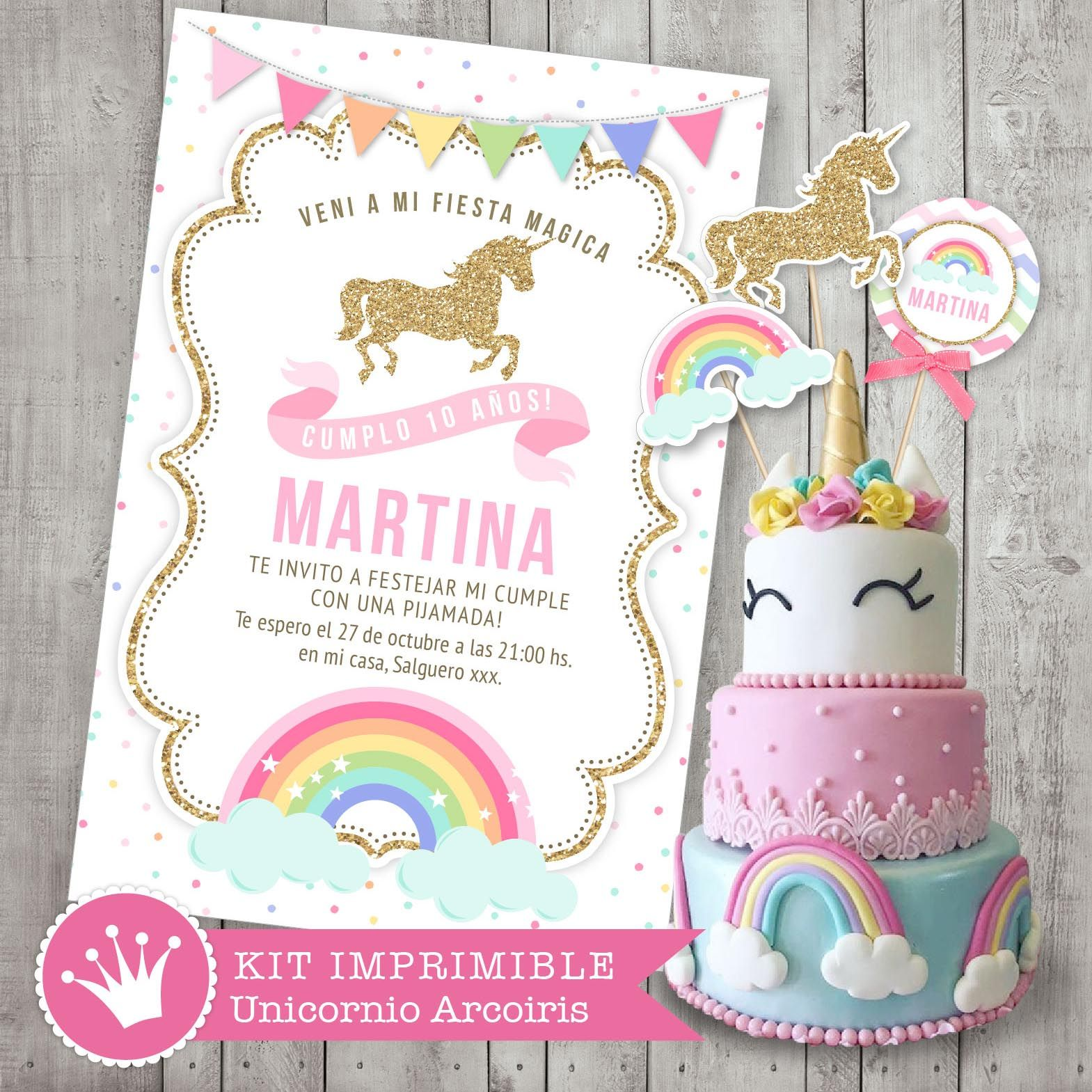Kit imprimible unicornio y arcoiris. Decoración para fiestas y ...