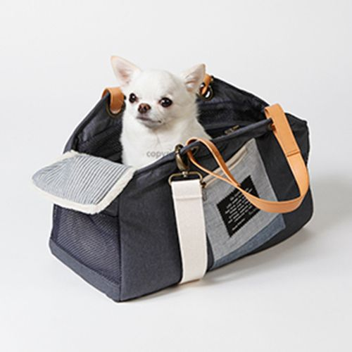 breezy tote bag dog carrier indigo by Louisdog