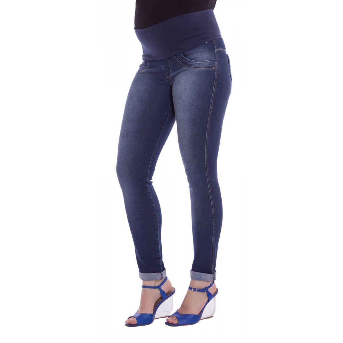 6dbb0cedb Calça Jeans Gestante Skinny Laura - Azul e Marinho