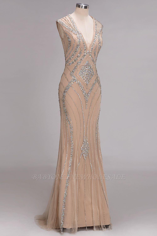 Nan mermaid vneck floor length sleeveless sequins prom dresses